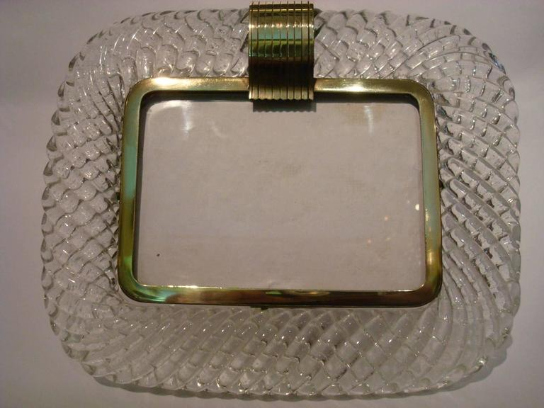 Mid-20th Century Elegant Venini Murano Twisted Glass Rope Picture Frame, Italy, 1940s For Sale