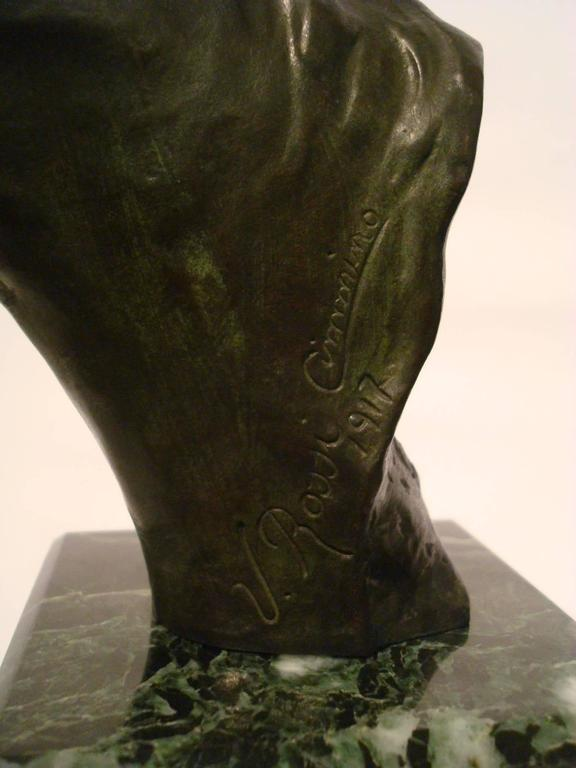 Fantastic detailed equestrian bronze. Perfect for a Polo or Race trophy. Signed U. Rossi, 1917. Very nice original patina. Mounted over a solid marble base.