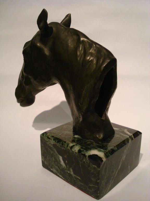 Italian Fantastic Detailed Horse Bust Bronze Sculpture Signed U. Rossi, 1917 For Sale