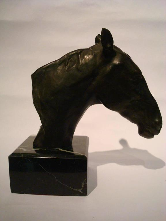 Fantastic Detailed Horse Bust Bronze Sculpture Signed U. Rossi, 1917 In Good Condition For Sale In Buenos Aires, Olivos