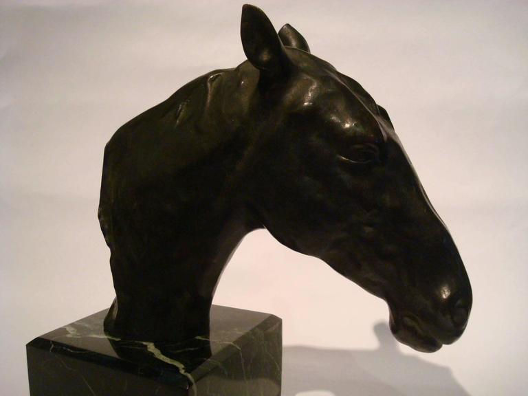 Fantastic Detailed Horse Bust Bronze Sculpture Signed U. Rossi, 1917 For Sale 2