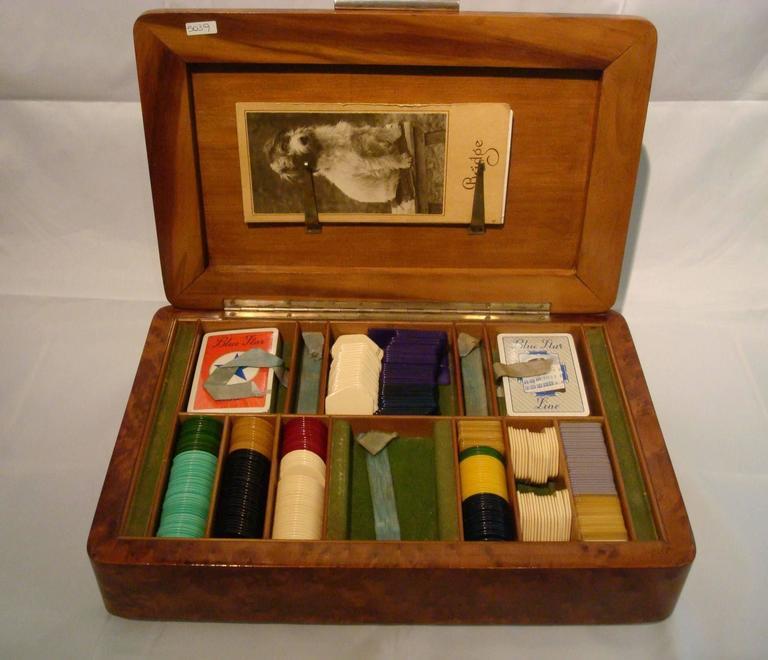 Fantastic Art Deco Gambling box. Perfect for a casino fan.