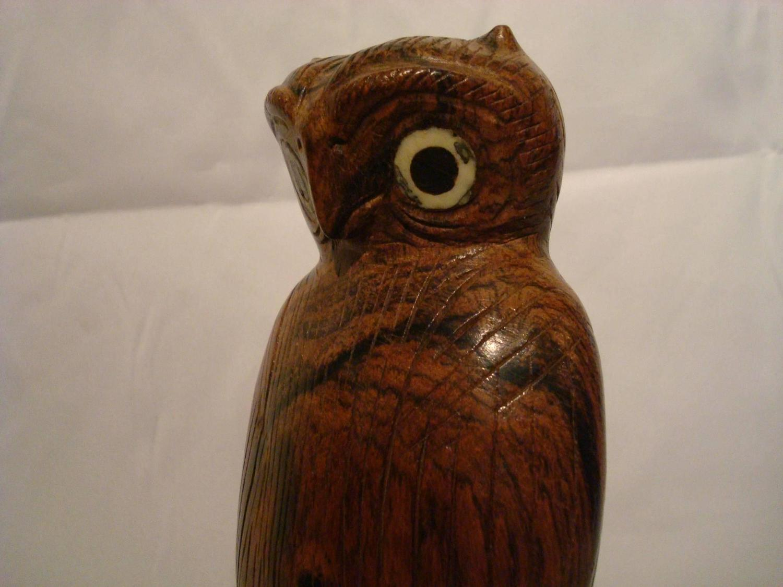 Folk art standing owl wooden carved sculpture for sale at