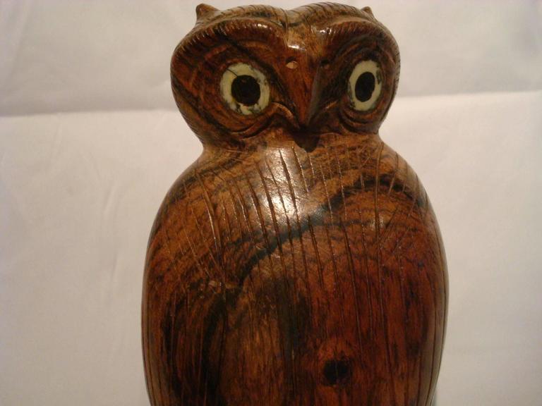 Hand-Carved Folk Art Standing Owl Wooden Carved Sculpture For Sale