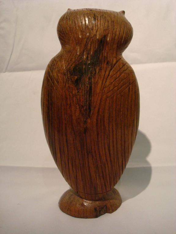 20th Century Folk Art Standing Owl Wooden Carved Sculpture For Sale