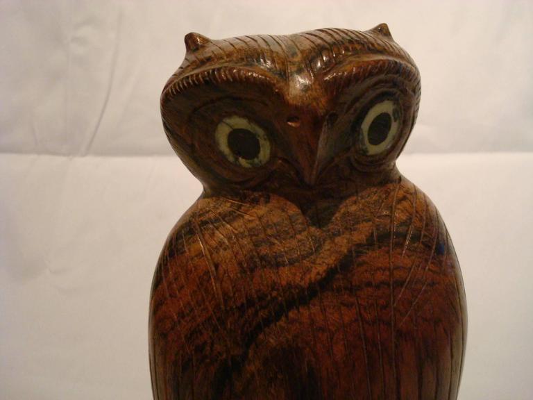 Bone Folk Art Standing Owl Wooden Carved Sculpture For Sale