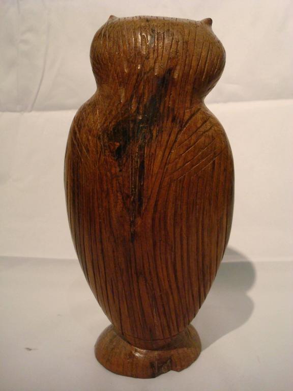 Folk Art Standing Owl Wooden Carved Sculpture For Sale 1