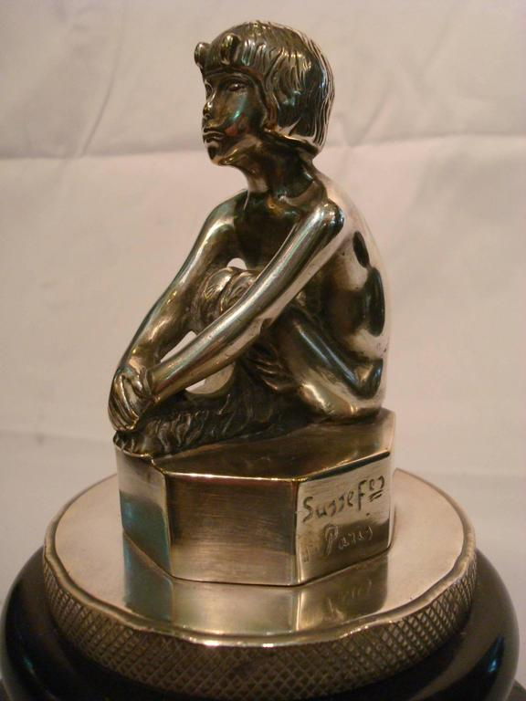 French Art Deco Silvered Bronze Faun, Car Mascot Hood Ornament, France, 1920 For Sale