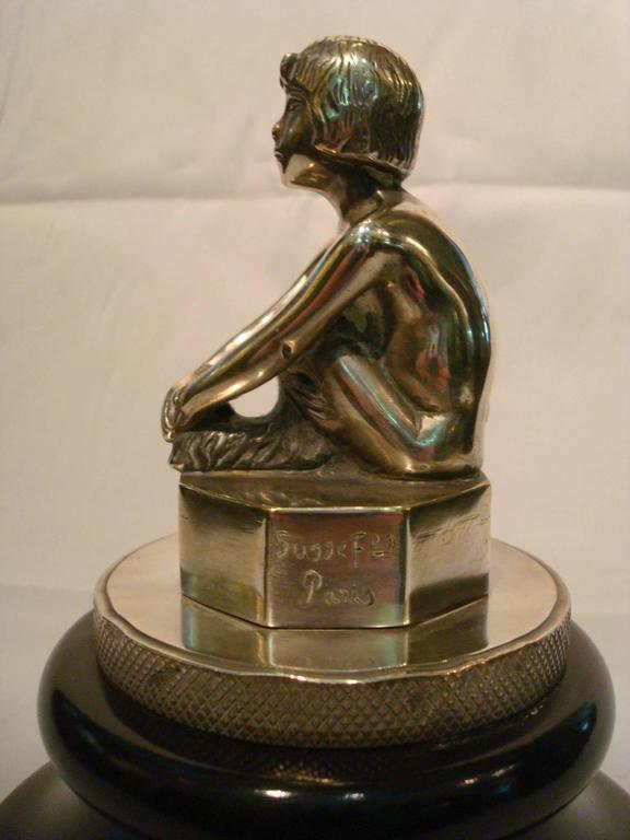 Polished Art Deco Silvered Bronze Faun, Car Mascot Hood Ornament, France, 1920 For Sale