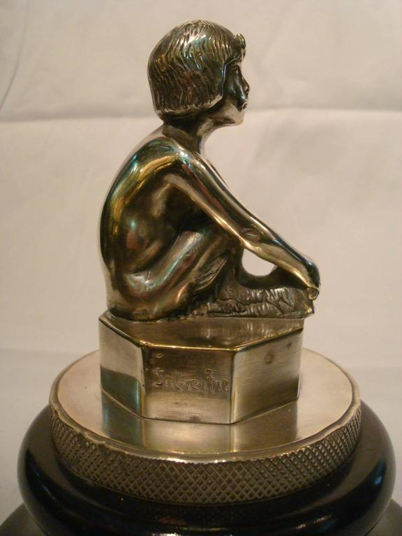 Art Deco Silvered Bronze Faun, Car Mascot Hood Ornament, France, 1920 In Good Condition For Sale In Buenos Aires, Olivos
