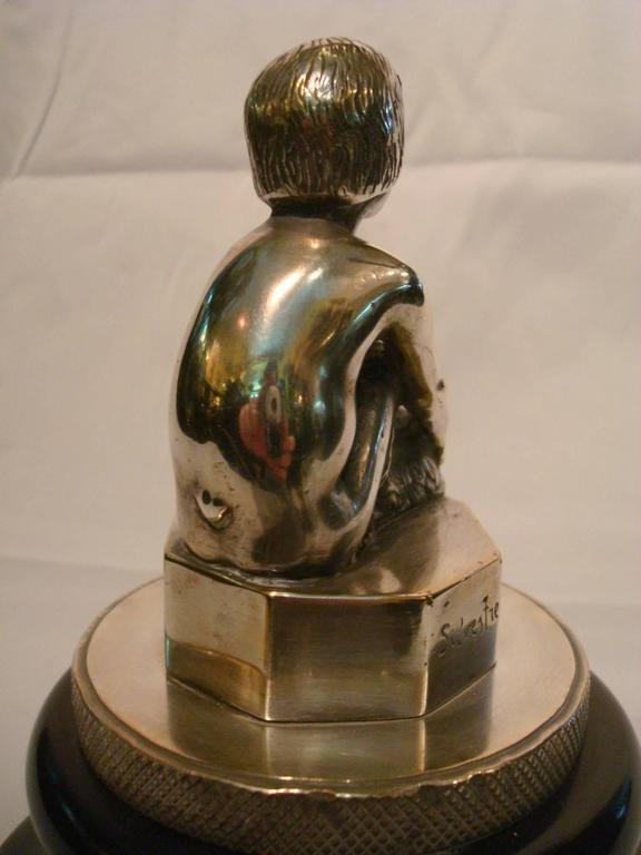 20th Century Art Deco Silvered Bronze Faun, Car Mascot Hood Ornament, France, 1920 For Sale