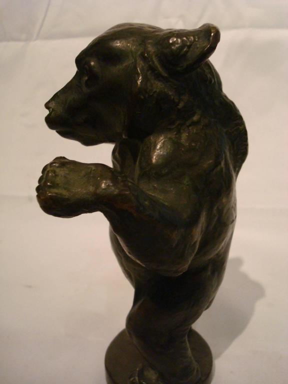 Young bear bronze figure. Probably paperweight or car mascot - hood ornament. Very nice details. Very good foundry quality, with original brown patina.