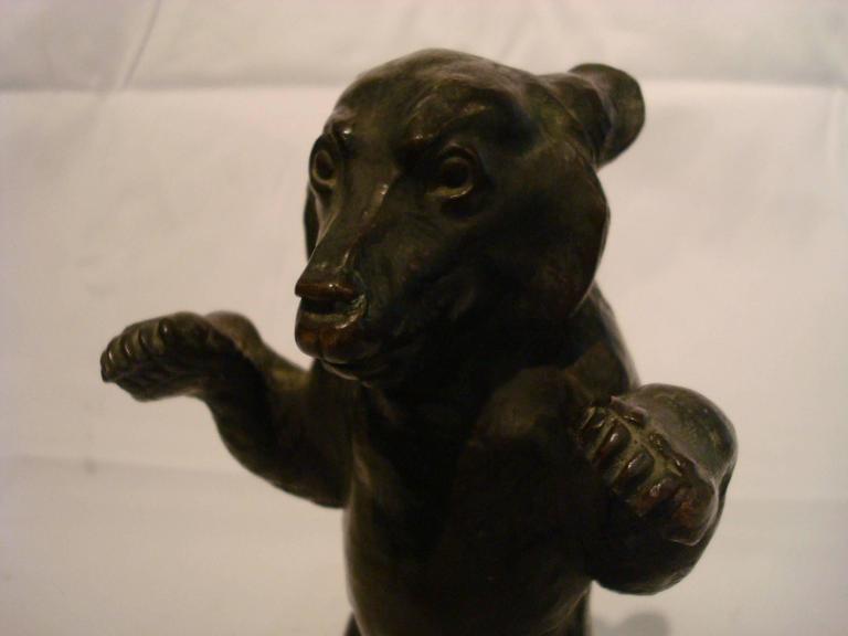 European Young Bear Bronze Figure For Sale