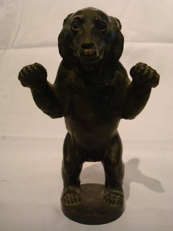 Patinated Young Bear Bronze Figure For Sale