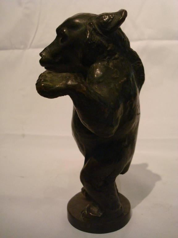 Young Bear Bronze Figure For Sale 1