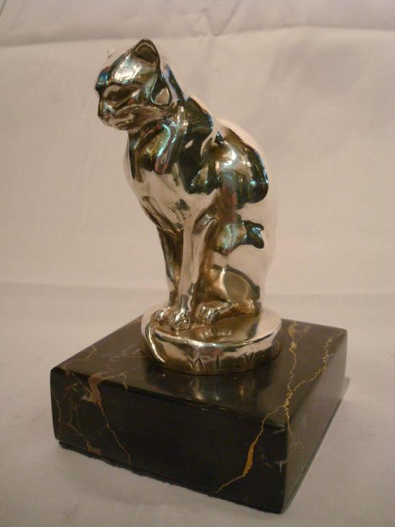 Silvered Art Deco Cat Paperweight Car Mascot, Max Le Verrier, France, 1920 For Sale