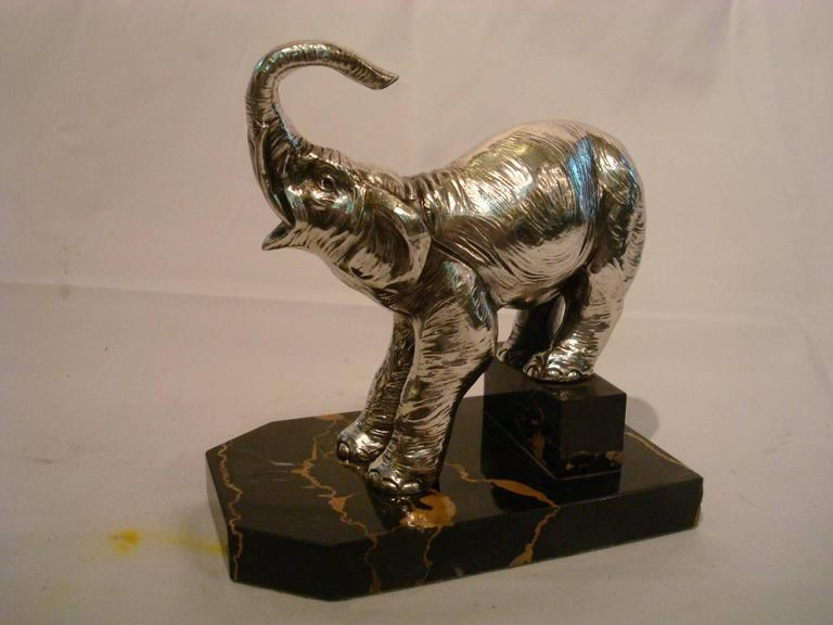 Silvered Art Deco Elephants Bookends, France, 1920s For Sale
