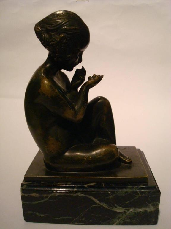 Art Deco Bronze Bookends with Satyr and Girl by Pierre Laurel, 1930 2