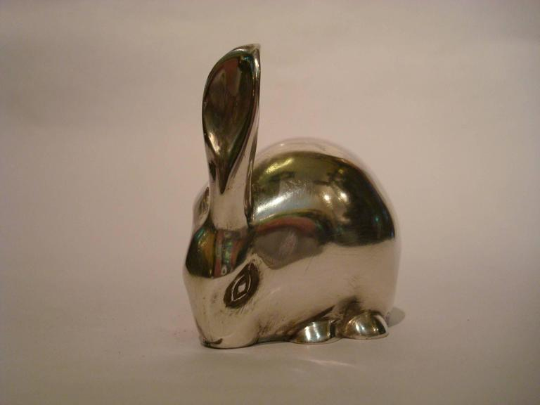 Art Deco silver plated bronze sculpture of a rabbit hare. Lovely paperweight. Edouard Marcel Sandoz (1881-1973). Signature/ Marks: Ed.M. Sandoz - Susse Fre'res Ed.