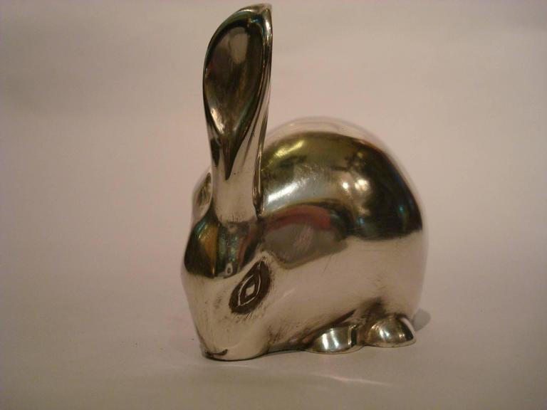 Silvered Art Deco Bronze Sculpture Rabbit by Eduard Marcel Sandoz, Susse Freres, 1920 For Sale