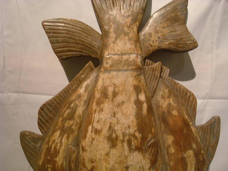 Folk art americana fishing sign wooden carved for sale at