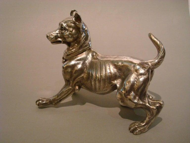 Big Silvered Bronze Vienna Dog Sculpture, Paperweight, 1900s For Sale 1