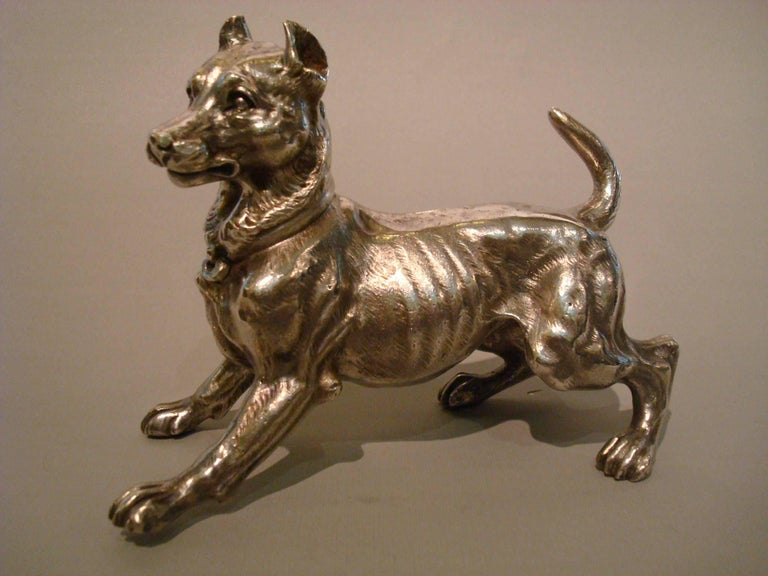 20th Century Big Silvered Bronze Vienna Dog Sculpture, Paperweight, 1900s For Sale