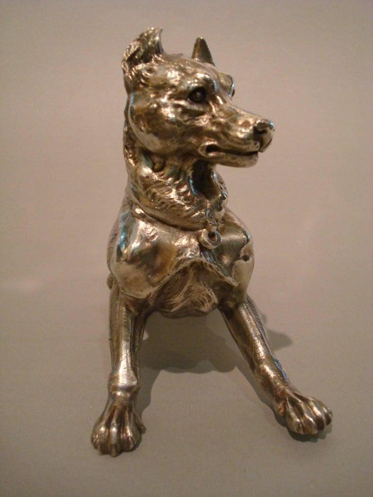 Big silvered bronze Vienna dog sculpture, 1900s. Very good detailed silvered bronze dog sculpture. Perfect as desk paperweight.