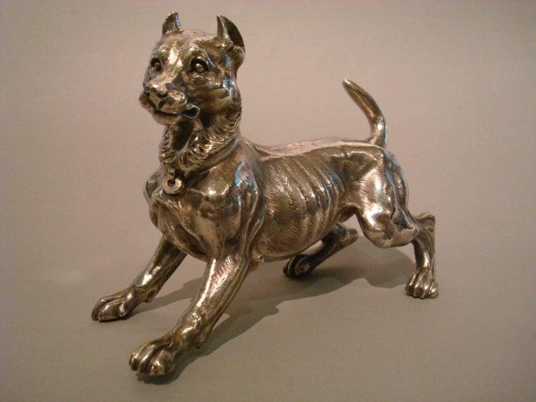 Art Nouveau Big Silvered Bronze Vienna Dog Sculpture, Paperweight, 1900s For Sale