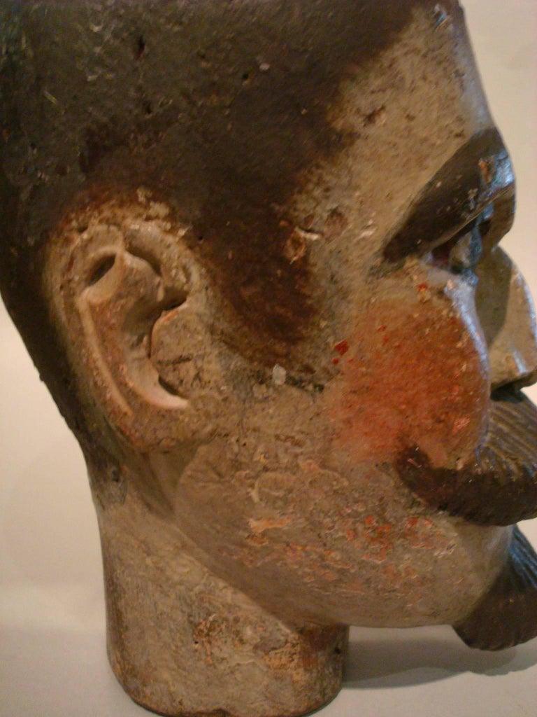 19th Century Folk Art Gentlemen Wooden Carved Portrait - Americana Sculpture For Sale