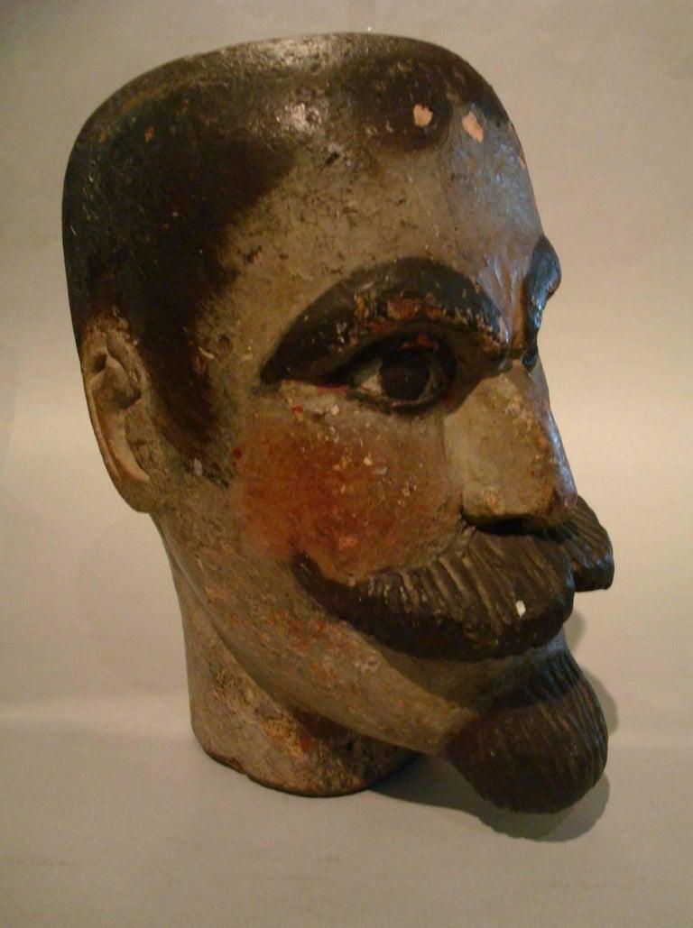 Folk Art Gentlemen Wooden Carved Portrait - Americana Sculpture In Good Condition For Sale In Buenos Aires, Olivos