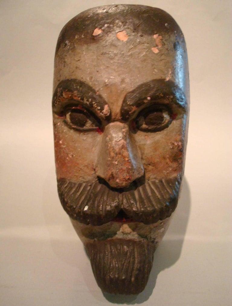 Hand-Carved Folk Art Gentlemen Wooden Carved Portrait - Americana Sculpture For Sale