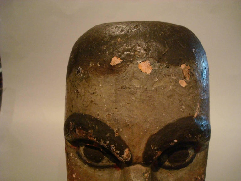 Very nice unrestored Folk Art carved head. It's a hand-carved wooden bust of a gentlemen. Very nice patina.
