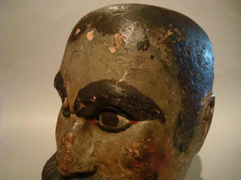 Folk Art Gentlemen Wooden Carved Portrait - Americana Sculpture For Sale 4