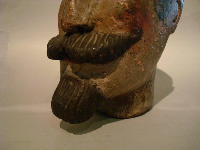 Folk Art Gentlemen Wooden Carved Portrait - Americana Sculpture For Sale 5