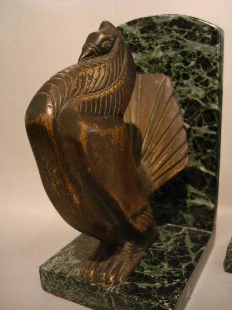 Early 20th Century Art Deco Turkey Bronze Bookends Signed Irenee Rochard For Sale