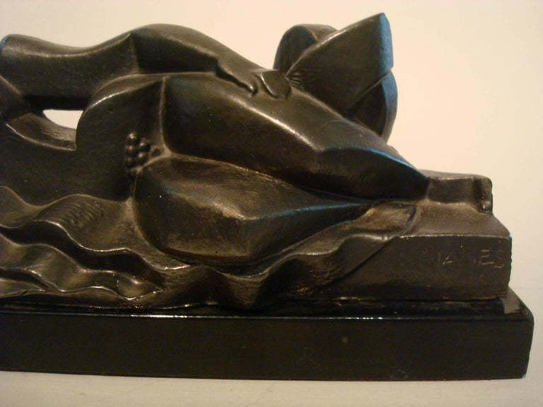 Art Deco, Cubist Lying Women Sculpture by Pablo Curatella Manes, 1920s In Good Condition For Sale In Buenos Aires, Olivos