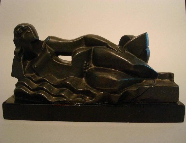 Art Deco, Cubist Lying Women Sculpture by Pablo Curatella Manes, 1920s For Sale 3