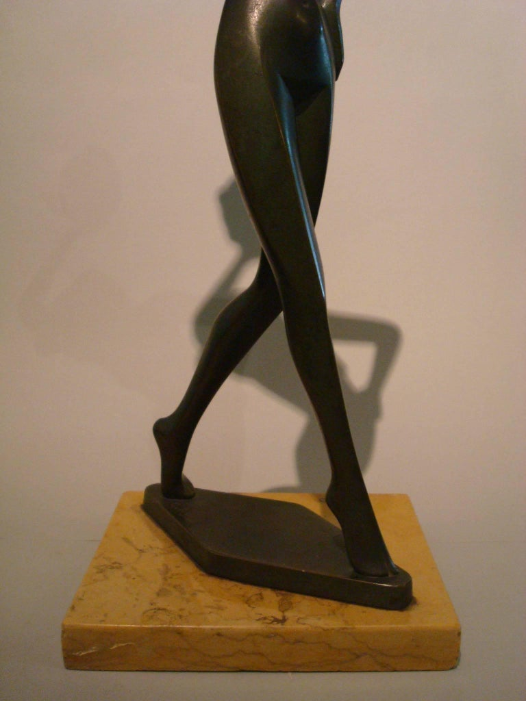 20th Century Art Deco Figure Nude Woman Dancer Bronze Sculpture - Italy For Sale