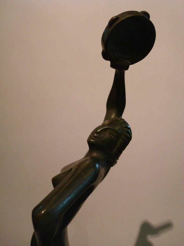Art Deco Figure Nude Woman Dancer Bronze Sculpture - Italy In Good Condition For Sale In Buenos Aires, Olivos