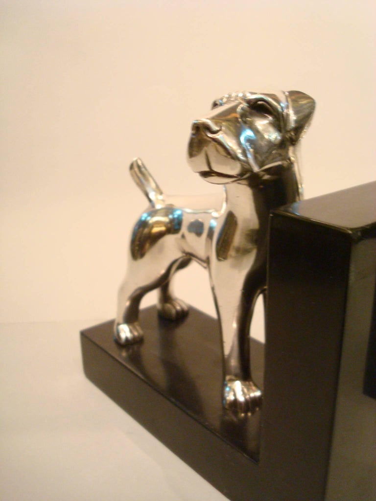 20th Century Art Deco Silvered Bronze Dog Bookends, Ravas For Sale
