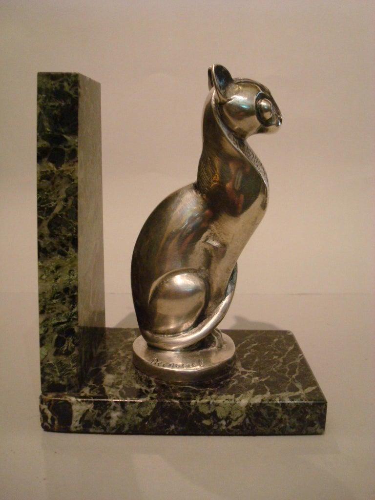 Art Deco Becquerel Cat Silvered Bronze Bookends, France, 1920 For Sale 1