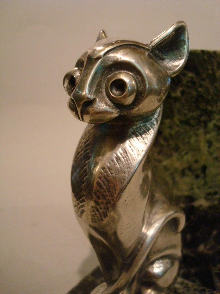 Art Deco Becquerel Cat Silvered Bronze Bookends, France, 1920 For Sale 4