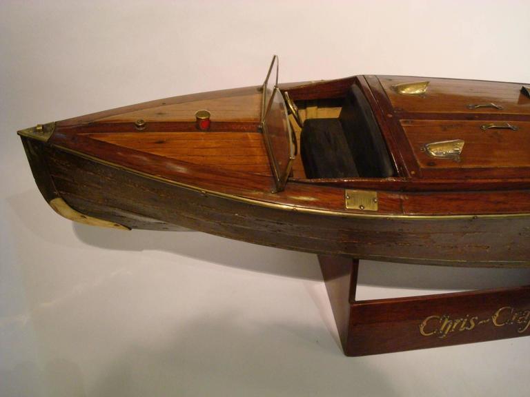 Mid-Century Modern Chris Craft Speedboat Sales Model, circa 1930s Nautical For Sale
