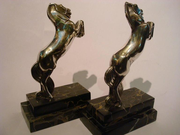 Art Deco Silvered Bronze Horse Bookends by Becquerel, France, 1930 For Sale 5