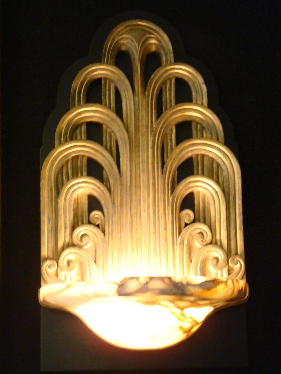 Pair Of Art Deco Fountain Sconces Wall Lights Theater