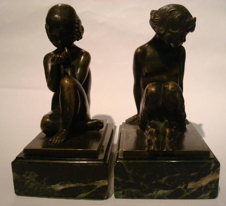 Art Deco Bronze Bookends with Satyr and Girl by Pierre Laurel, 1930 5