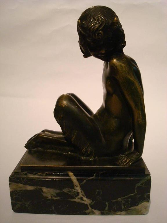 Art Deco Bronze Bookends with Satyr and Girl by Pierre Laurel, 1930 9