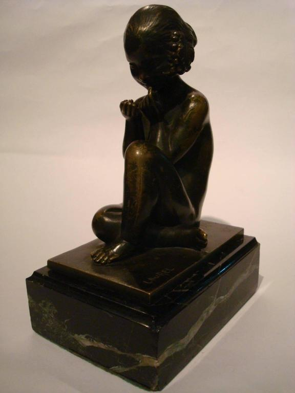 Art Deco Bronze Bookends with Satyr and Girl by Pierre Laurel, 1930 10