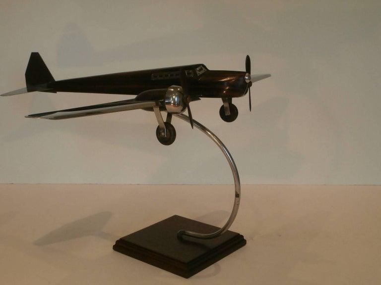 Art Deco Large Desk Model Airplane Chrome And Zebra Wood